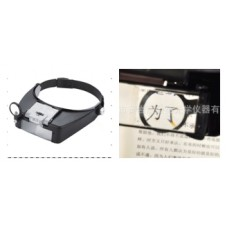 Headband Magnifier 4 lenses:x1.5&3&8.5&10,size 235x195x50mm,with light source,acrylic lense