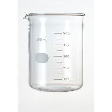 Beaker 500ml Borosilicate low form,spout & printed graduation