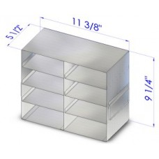 Freezer rack,upright,for 8 box of 5cm height,in 2 columns of 4 cells
